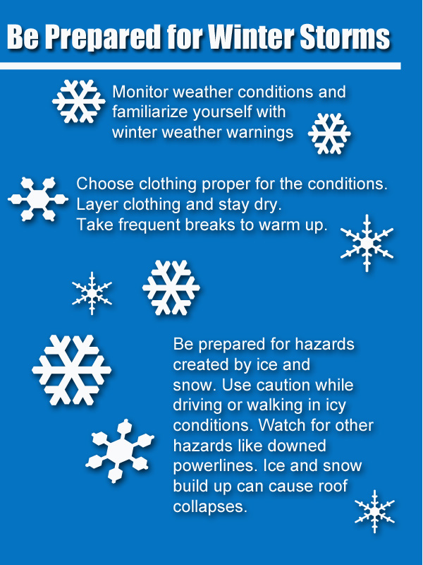 Use caution when dealing with winter weather. Pay attention to the weather conditions and make sure that you dress properly for these cold conditions